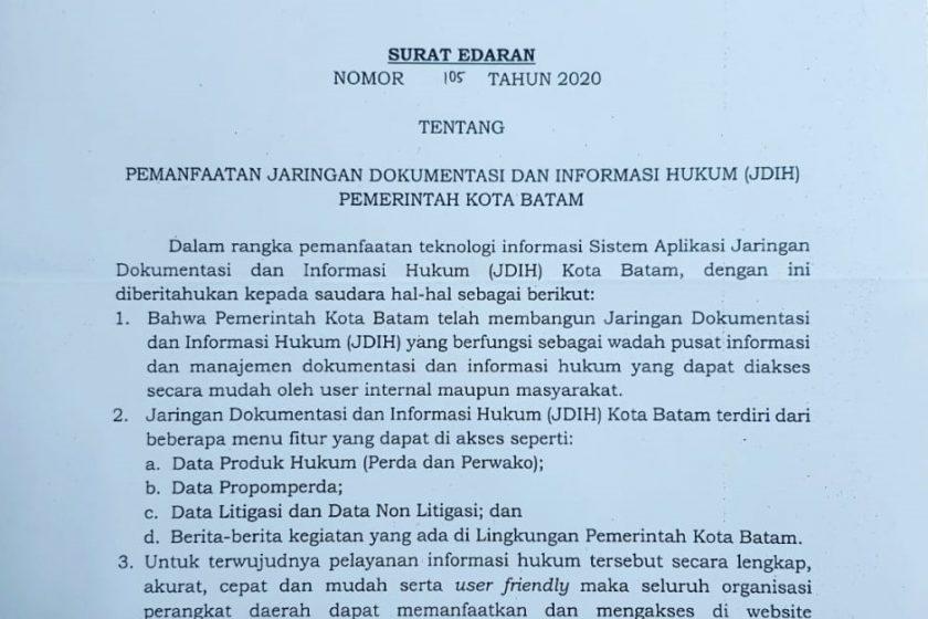 SE Tentang Pemanfaatan Jaringan Dokumentasi dan Informasi Hukum (JDIH) Pemerintah Kota Batam